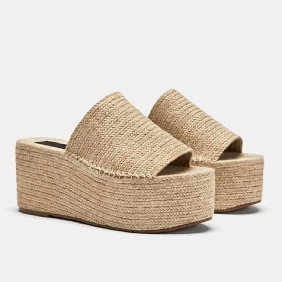 c41d7cd323f6 Zara Jute Slide On Flatform Sandal